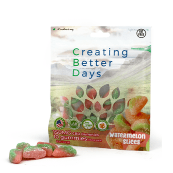 CBD Gummies Pouch Watermelon Slices 150mg 10 Pack Creating Better Days