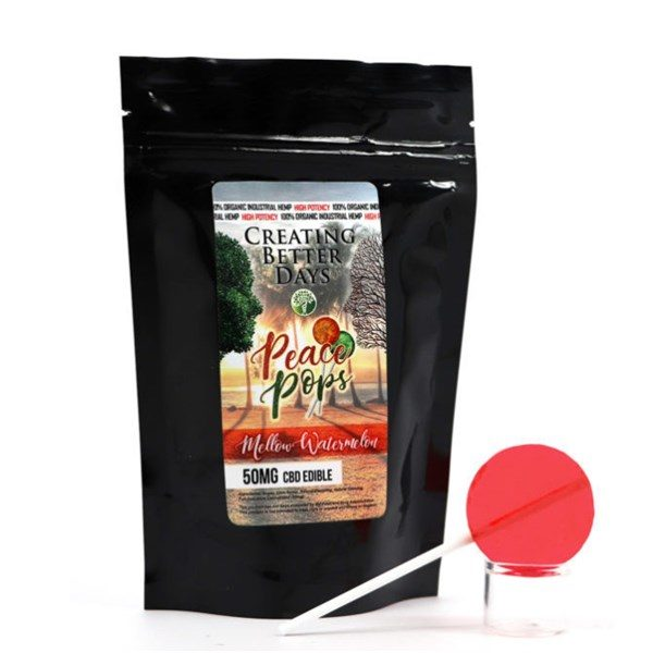 CBD Peach Pops Mellow Watermelon lollipop 50mg Creating Better Days