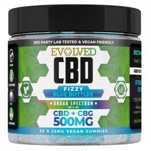 Fizzy Blue Bottles Vegan CBD Gummies 500mg By Evolved CBD Gummy Series