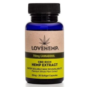 CBD Rich Hemp Extract - 30 Softgel Capsules 750mg By Love Hemp