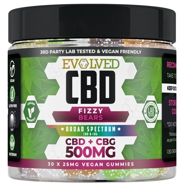 Fizzy Bears Vegan CBD Gummies 500mg 750mg By Evolved CBD Gummy Series