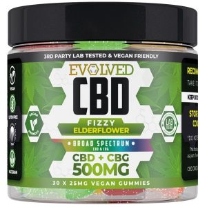 Fizzy Elderflower Vegan CBD Gummies 500mg 750mg By Evolved CBD Gummy Series