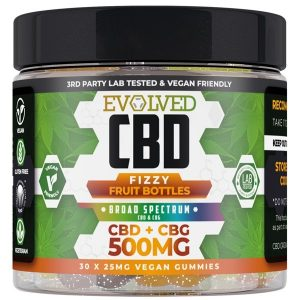 Fizzy Fruit Bottles Vegan CBD Gummies 500mg 750mg By Evolved CBD Gummy Series