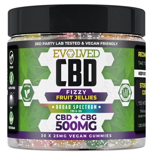 Fizzy Fruit Jellies Vegan CBD Gummies 500mg By Evolved CBD