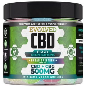 Fizzy Neon Buttons Vegan CBD Gummies 500mg 750mg By Evolved CBD Gummy Series