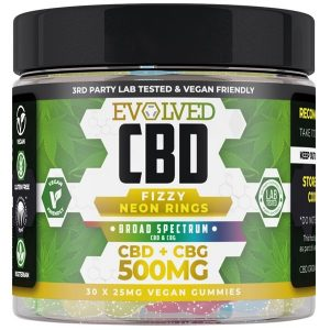 Fizzy Neon Rings Vegan CBD Gummies 500mg 750mg By Evolved CBD Gummy Series