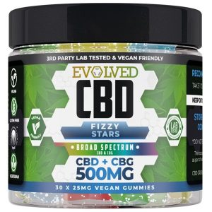 Fizzy Stars Vegan CBD Gummies 500mg 750mg By Evolved CBD Gummy Series