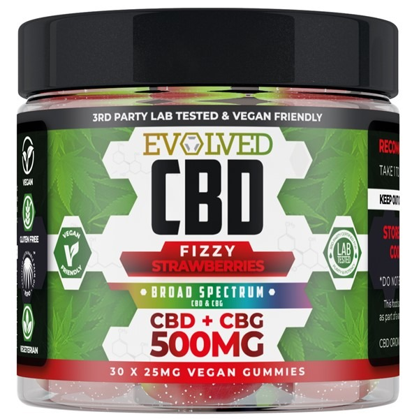 Fizzy Strawbrries Vegan CBD Gummies 500mg 750mg By Evolved CBD Gummy Series